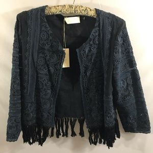 Love Sam Embroidered Fringe Jacket NEW!